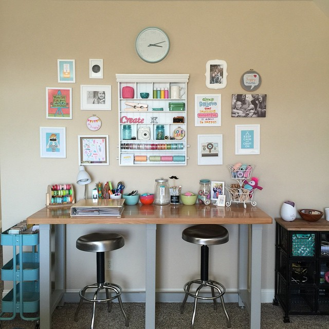 My happy spot. ? Tap photo to see where I've purchased some of my goodies from. #mystudiospace #projectlife #crafting #kidart